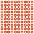 100 internet icons hexagon orange