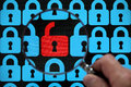 Internet lock security concept open red padlock virus or threat of hacking Stock Images