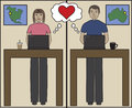 Internet love cartoon man and woman find on the Stock Image