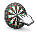 Internet marketing concept creative abstract and web success business technology dartboard with computer mouse hand finger cursor Royalty Free Stock Image