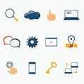 Internet marketing services icons set for website and social media contents isolated vector illustration Stock Photos