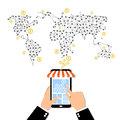 Internet and mobile marketing concept. Social network. Online shopping. Shopping basket. Investment business. Strategy fo