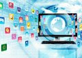 Internet and multimedia application with icon flying through the screen Stock Photo