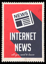 Internet News on Red in Flat Design. Stock Photography