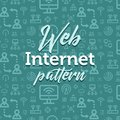 Internet pattern illustration with vector outline simple flat icons on texture background