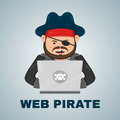 Internet pirate with a laptop computer. vector flat isolated character illustration. web and download content concept