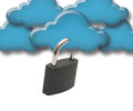 Internet safeguard cloud and padlock isolated on white Royalty Free Stock Photos