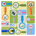 Internet search colorful wall with magnifiers and icons of items Stock Images