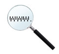 Internet search concept loupe withd digital www isolated on white background Royalty Free Stock Image