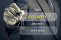 Internet security businessman with concept log in and password button on screen Royalty Free Stock Images
