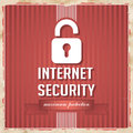 Internet security concept in flat design with padlock and slogan on ribbon on red striped background vintage Royalty Free Stock Photography