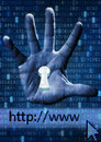 Internet security concept with keyhole in human hand against digital background Stock Photos