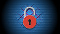 Internet security concept, open red padlock on digital data background. Royalty Free Stock Photo