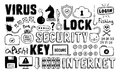 Internet security doodle vector set hand drawn illustration of and network elements isolated on white background Stock Photos