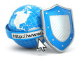 Internet security earth browser address line and shield d Royalty Free Stock Photos