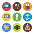 Internet security icons set vector collection of colorful in modern flat design style on theme isolated on white background Royalty Free Stock Photos