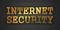 Internet security information concept gold text on dark background d render Royalty Free Stock Photo