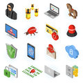Internet Security isometric Flat Icon Set Royalty Free Stock Photo