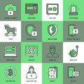 Internet Security Square Icon Set Royalty Free Stock Photo