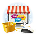 Internet shop illustration mix online store and ordinary shops on your computer with a yellow basket light purchase without Royalty Free Stock Photo
