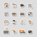 Internet Shopping and Delivery Sticker Icon Set Royalty Free Stock Photo