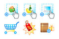 Internet shopping icons Royalty Free Stock Photography