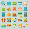 Internet shopping sticker icon set Royalty Free Stock Photo