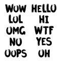 Internet slang brush lettering