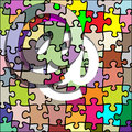 Internet symbol puzzle Stock Photos
