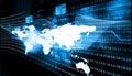 Internet technologies globalization on blue background Stock Photos