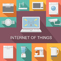 Internet of things computer remote control flat Royalty Free Stock Photo