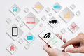 Internet of Things concept (IoT) with man hands holding smart ph Royalty Free Stock Photo