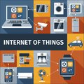 Internet of things flat icons composition computer and smart watch remote control poster abstract isolated vector illustration Stock Image