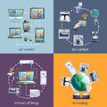 Internet of things 4 flat icons Royalty Free Stock Photo