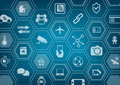 Internet of things IOT blue background with polygon shapes
