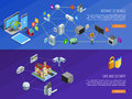 Internet Of Things 2 Isometric Banners Royalty Free Stock Photo