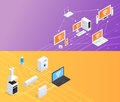 Internet Things  Isometric Banners Set Royalty Free Stock Photo