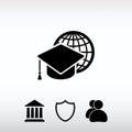 Internet training icon, vector illustration. Flat design style