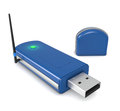 Internet usb key one with antenna d render Royalty Free Stock Images