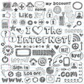 Internet Web Icon Computer Sketchy Doodles Set Royalty Free Stock Images