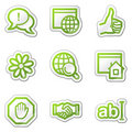 Internet web icons, green contour sticker series Royalty Free Stock Images