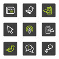 Internet web icons set 2, grey square buttons Stock Photos