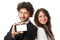 Internet on your mobilephone bright shot of a gourgeous business couple holding a smartphone with blank screen over a white Royalty Free Stock Images
