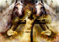 Interpretation of Jesus on the cross and animals, graphic painting version. Sepia effect.