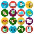 Interpreter and translator set icons in flat style. Big collection of interpreter and translator vector symbol stock Royalty Free Stock Photo