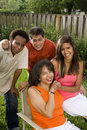 Interracial family, Hispanic and African American Royalty Free Stock Photo