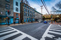 Intersection in downtown Ellicott City, Maryland. Royalty Free Stock Photo