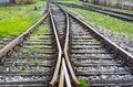 Intersection railroad tracks connecting and separating the two railway lines Stock Photography