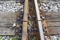 Intersection railroad tracks connecting and separating the two railway lines Stock Photo