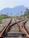 Intersections of and rails railroad view rail transport in the outdoors Stock Photography